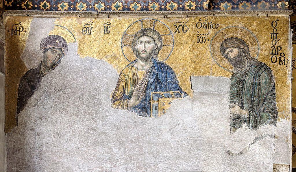 Deesis mosaic of Hagia Sophia (Ayasofya) in Istanbul, Turkey