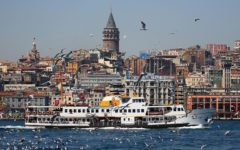 Galata Tower overseeing Bosphorus and Golden Horn Istanbul Turkey