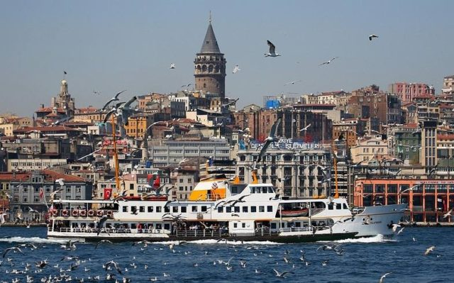 Galata Tower overseeing Bosphorus and Golden Horn in Istanbul, Turkey