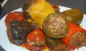 stuffed vegetables tomato eggplant zucchini pepper (domates patlıcan biber kabak dolma)
